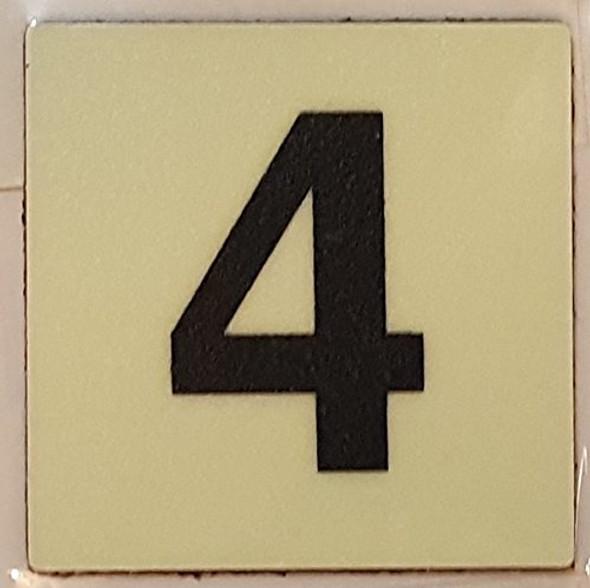 PHOTOLUMINESCENT DOOR IDENTIFICATION LETTER 4 ( FOUR)SIGN HEAVY DUTY / GLOW IN THE DARK