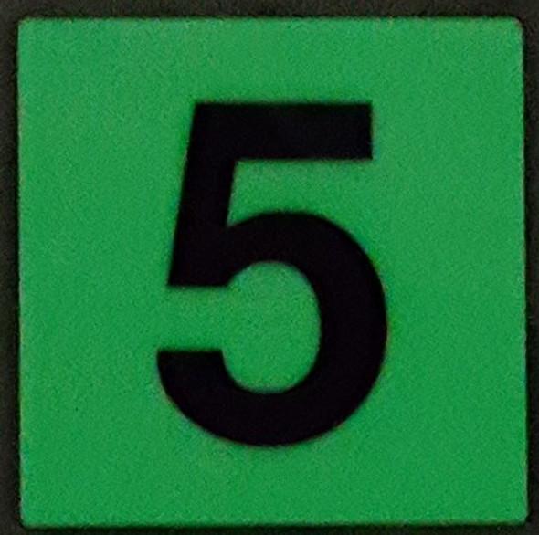 PHOTOLUMINESCENT DOOR IDENTIFICATION LETTER 5 (FIVE) SIGN HEAVY DUTY / GLOW IN THE DARK