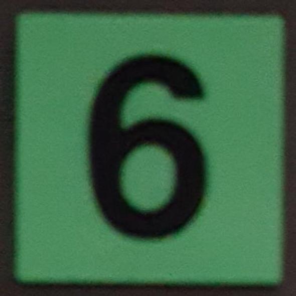 PHOTOLUMINESCENT DOOR IDENTIFICATION LETTER 6 (SIX) SIGN HEAVY DUTY / GLOW IN THE DARK