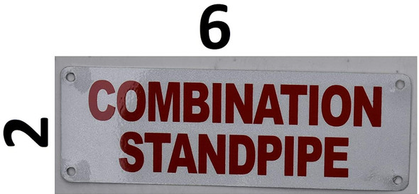 Combination Standpipe Sign (White Reflective,Aluminium 4x12)