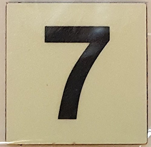 PHOTOLUMINESCENT DOOR IDENTIFICATION LETTER 7 (SEVEN) SIGN HEAVY DUTY / GLOW IN THE DARK