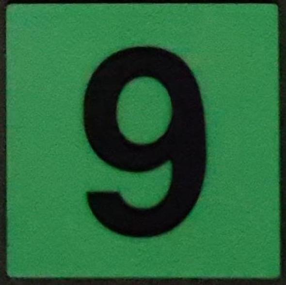 """PHOTOLUMINESCENT DOOR IDENTIFICATION LETTER 9 (NINE) SIGN HEAVY DUTY / GLOW IN THE DARK """"DOOR SYMBOL"""" SIGN HEAVY DUTY (ALUMINUM SIGN 1.5 X 1.5)"""