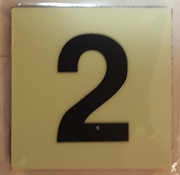 PHOTOLUMINESCENT DOOR IDENTIFICATION NUMBER 2 (TWO) SIGN HEAVY DUTY / GLOW IN THE DARK