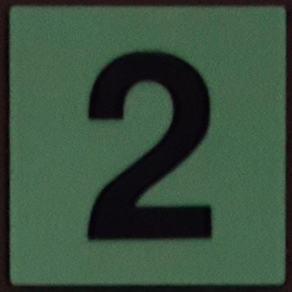 PHOTOLUMINESCENT DOOR IDENTIFICATION NUMBER 2 (TWO) SIGN HEAVY DUTY / GLOW IN THE DARK