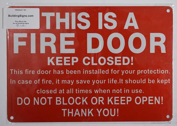 FIRE Door Keep Closed Sign (Reflective !!!!!!! Red,Aluminum 7X10)