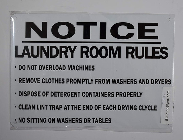Laundry Room Rules Sign (White,Aluminum )