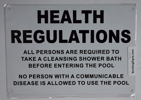 Health REGULATIONS Requi to TAKE Cleansing Shower Bath Before Entering The Pool Sign