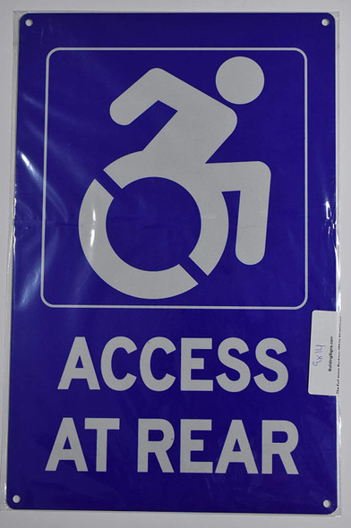 Access at Rear Sign -The Pour Tous Blue LINE