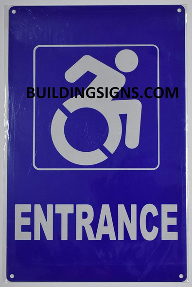 ACCESSIBLE Entrance Sign -The Pour Tous Blue LINE