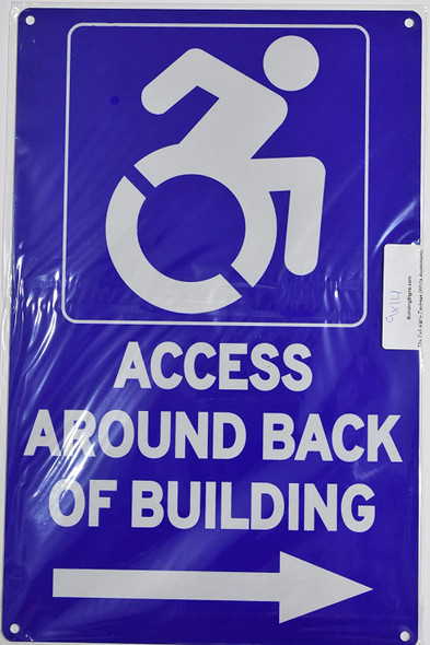 ACCESSIBLE Entrance Around Back of Building Right Arrow Sign - The Pour Tous Blue LINE