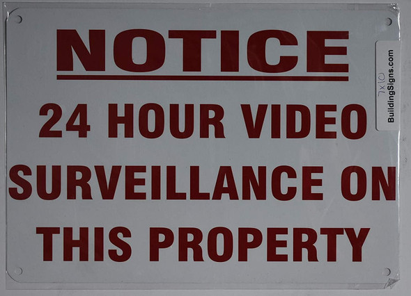 Notice 24 Hour Video Surveillance ON This Property Sign (White,Aluminum 7X10)