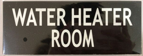 Compliance  WATER HEATER ROOM  - BLACK  sign