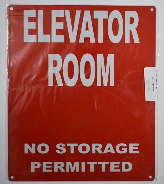 Elevator Room Sign (Red, Reflective, Aluminium 10x12)