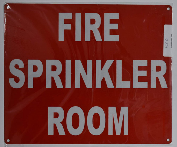 FIRE Sprinkler Room Sign (Red, Reflective, Aluminium 10x12)