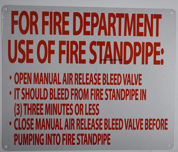 Manual air Release Sign (White, fd Rules, Reflective, Aluminium 10x12)