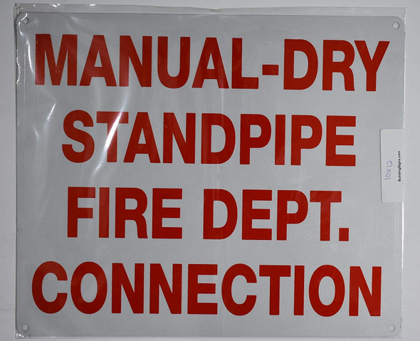 Manual Dry Standpipe Sign (White, Reflective, Aluminium 10x12)
