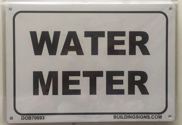 WATER METER SIGN - PURE WHITE