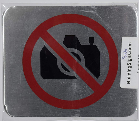 NO Pictures Symbol Sign - The Gallery LINE (Brush Silver,Double Sided Tape, Aluminium 5X6-Rust Free)