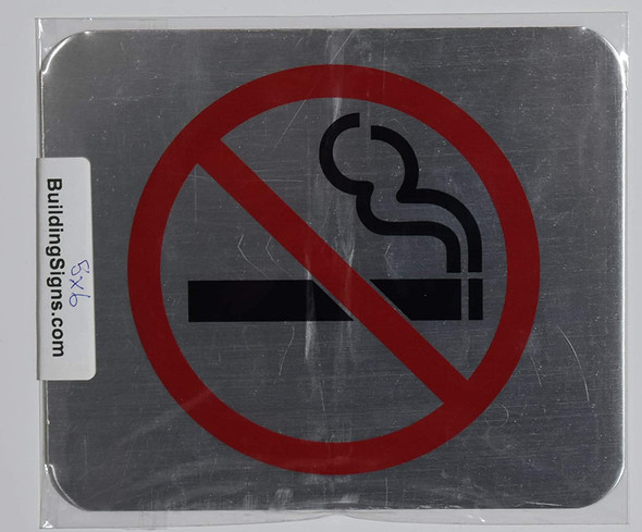 NO Smoking Symbol Sign  (Brush Silver,Double Sided Tape, Aluminium 5X6-Rust Free)-The Gallery LINE