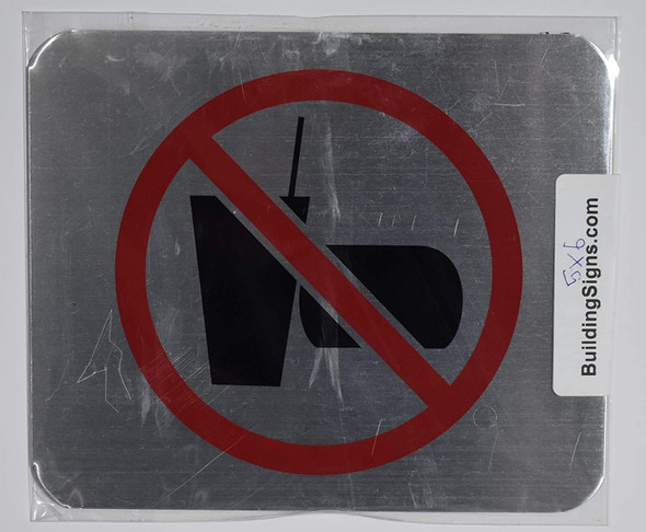 NO Drink and Food Symbol Sign - The Gallery LINE (Brush Silver,Double Sided Tape, Aluminium 5X6-Rust Free)