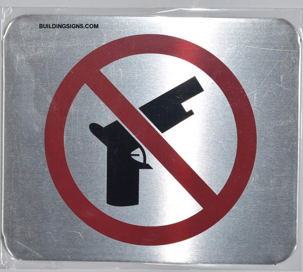NO Guns Symbol Sign - The Gallery LINE (Brush Silver,Double Sided Tape, Aluminium 5X6-Rust Free)