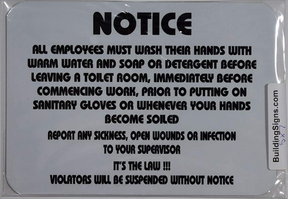Notice All Employee Must WASH Their Hands with Warm Water and SOAP Sign