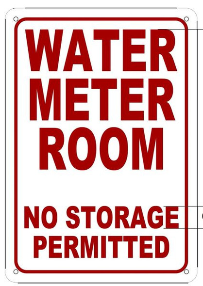 WATER METER ROOM NO STORAGE PERMITTED Sign White