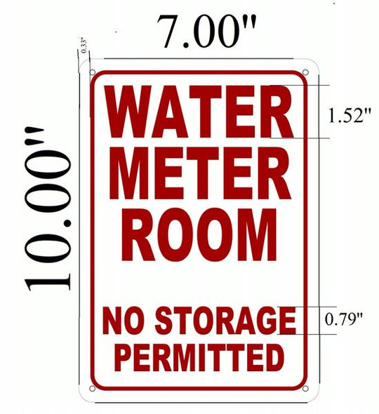 WATER METER ROOM NO STORAGE PERMITTED SIGNAGE