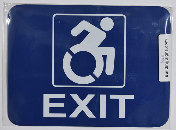 ADA-EXIT ACCESSIBLE Sign -The Pour Tous Blue LINE -Tactile Signs  Braille sign