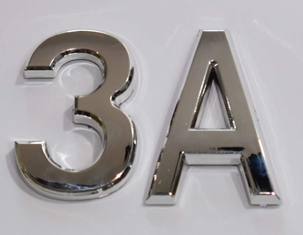 Apartment Number 3A Sign/Mailbox Number Sign, Door Number Sign. Letter C (Silver,3D, Size 2.75 x 1.75, Comes with Double Sided Tape)- The Maple line