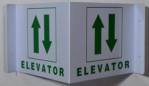 Elevator 3D Projection Sign/Elevator Hallway Sign (White/Green,Plastic)-Les Deux cotes line