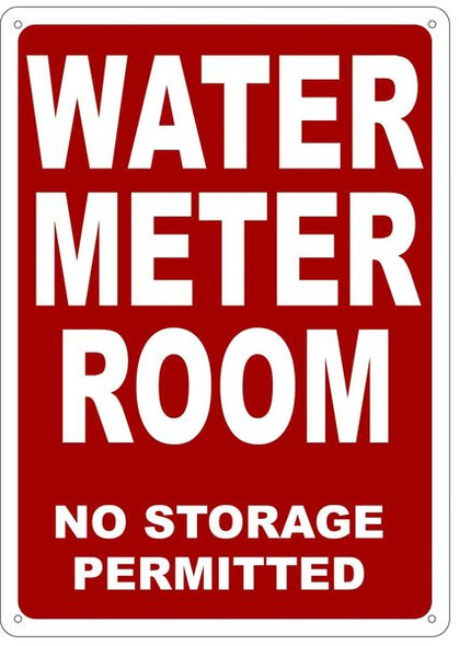 WATER METER ROOM NO STORAGE PERMITTED dob sign
