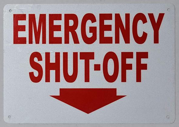 Emergency Shut-Off Arrow Down Sign