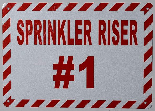 Sprinkler Riser #1 Sign (White, Reflective !!, Aluminium, Size 7X10)