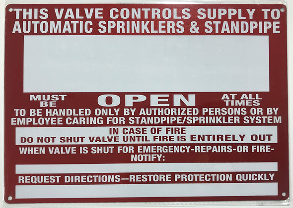 This Valve Control Supply to Automatic Sprinkler and Standpipe Signage
