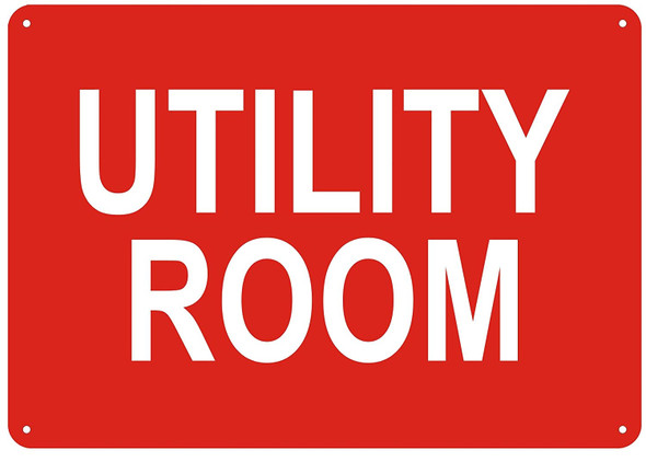Utility Room Sign (red Reflective,Aluminum, )