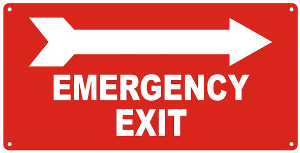 EMERGENCY EXIT WITH ARROW RIGHT Sign