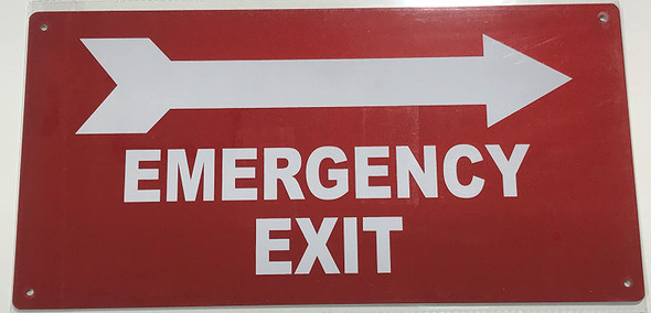 EMERGENCY EXIT WITH ARROW RIGHT Signage