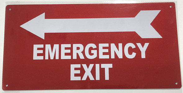 EMERGENCY EXIT WITH ARROW LEFT SIGN