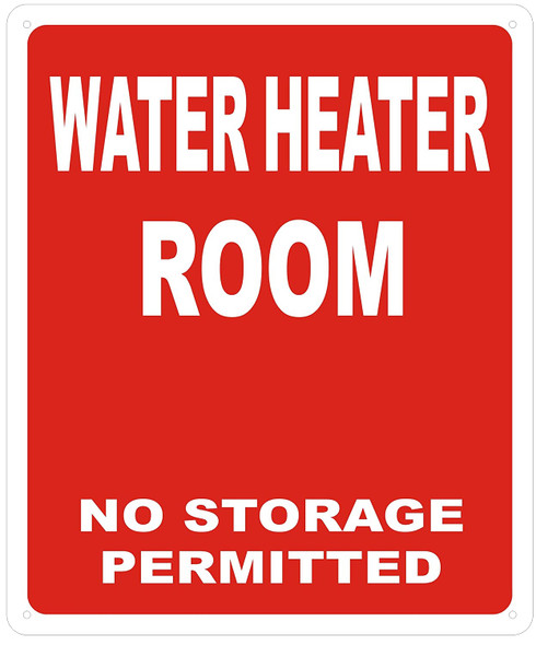 WATER HEATER ROOM SIGN - RED ( Reflective !!! ALUMINUM)