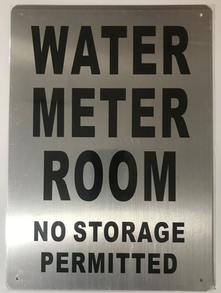 SIGN WATER METER ROOM NO STORAGE PERMITTED - BRUSHED ALUMINUM - The Mont Argent Line