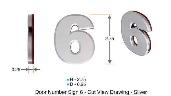 Apartment Number 6B Sign/Mailbox Number Sign, Door Number Sign. (Silver,3D, Size 2.75 x 1.75, Comes with Double Sided Tape)- The Maple line