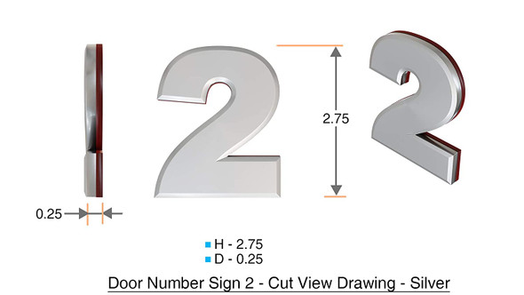 Apartment Number 2C Sign/Mailbox Number Sign, Door Number Sign. (Silver,3D, Size 2.75 x 1.75, Comes with Double Sided Tape)- The Maple line