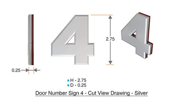 Apartment Number 4C Sign/Mailbox Number Sign, Door Number Sign. (Silver,3D, Size 2.75 x 1.75, Comes with Double Sided Tape)- The Maple line