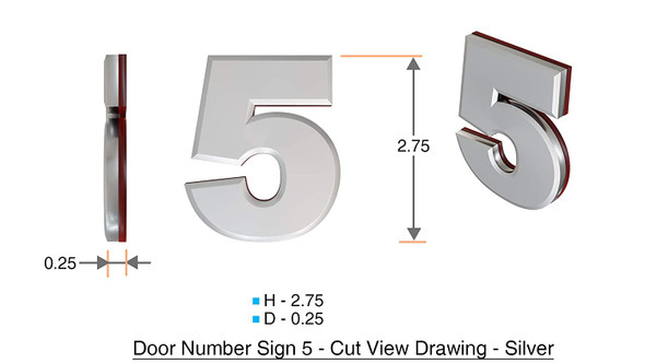 Apartment Number 5C Sign/Mailbox Number Sign, Door Number Sign. (Silver,3D, Size 2.75 x 1.75, Comes with Double Sided Tape)- The Maple line