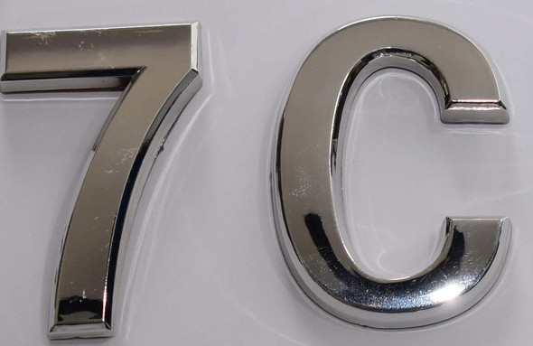 Apartment Number 7C Sign/Mailbox Number Sign, Door Number Sign. (Silver,3D, Size 2.75 x 1.75, Comes with Double Sided Tape)- The Maple line