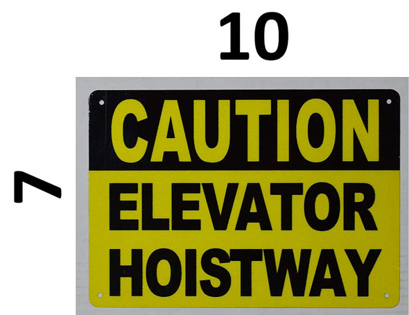Caution Elevator Hoistway SIGNAGE (Reflective,Aluminium, Yellow Background)