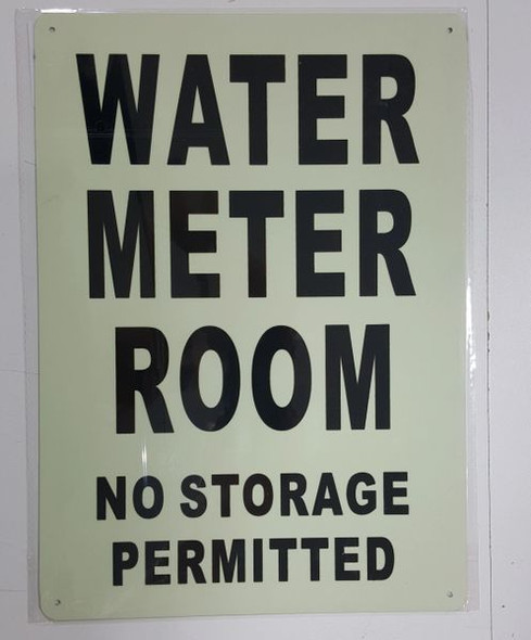 WATER METER ROOM NO STORAGE PERMITTED SIGNAGE - PHOTOLUMINESCENT GLOW IN THE DARK SIGNAGE (PHOTOLUMINESCENT )
