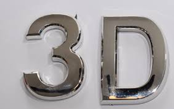 Apartment Number 3D Sign/Mailbox Number Sign, Door Number Sign. (Silver,3D, Size 2.75 x 1.75, Comes with Double Sided Tape)- The Maple line