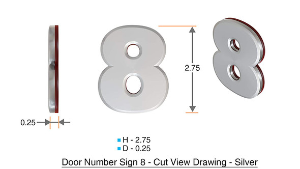 Apartment Number 8C Sign/Mailbox Number Sign, Door Number Sign. (Silver,3D, Size 2.75 x 1.75, Comes with Double Sided Tape)- The Maple line